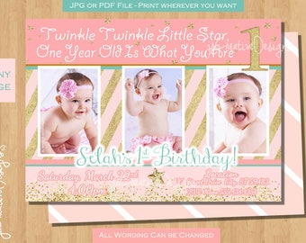 twinkle twinkle little star 1st birthday invitation twinkle twinkle little star first birthday invites Girl 1st birthday invite pink gold