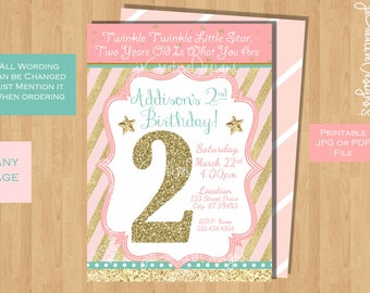 twinkle twinkle little star birthday invitation twinkle twinkle little star 2nd birthday invitation 1st birthday 3rd 4th 5th pink gold rose