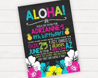 Luau Birthday Invitation Hawaiian Birthday Luau Party Printable Birthday Girl Birthday Swim Party Chalkboard Birthday Printable Luau