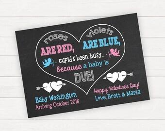 Valentine's Pregnancy Announcement Valentine's Day Pregnancy Announcement Pregnancy Reveal Valentine's Pregnancy Reveal Pregnancy Sign