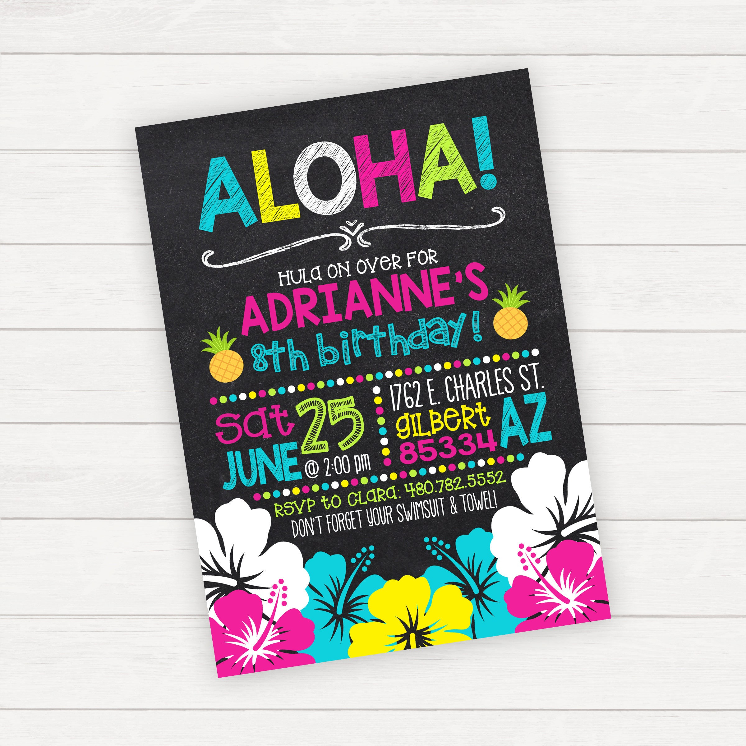 Luau Birthday Invitation Hawaiian Party Printable Girl Swim Chalkboard