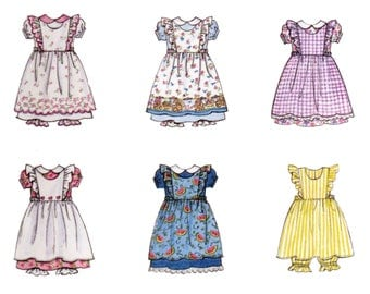 Children's Dress,  Pinafore, Pattern, Size 2 3 4 5, UNCUT, Girl's Pantaloons, Butterick 6613, Toddler Dress, Dress with Apron, Puff Sleeves