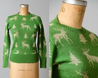 1930s Ski Sweater Reindeer & Trees Green Wool Knit Wool Novelty Christmas Sweater