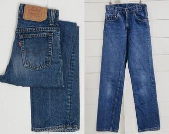 Vintage Levis 701 Student Fit Dark Denim High Waisted Jeans 25.5 x 29.5