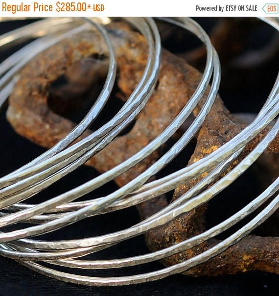 ON SALE Sterling Silver Bangles - 10 Stacking Bracelets - Sterling Silver Stackable Bangle Bracelets - Gift for Her
