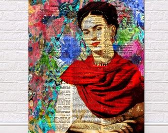 Frida Kahlo, Dictionary Art Print, Frida Kahlo Print, Frida Kahlo Decor, Frida Kahlo Poster, Vintage Dictionary art Print Giclee