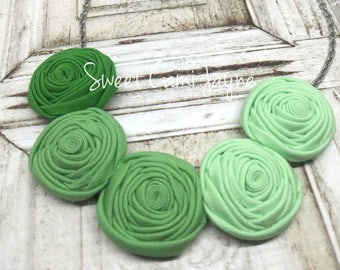 Ombré Necklace Green Statement Necklace Bib Necklace Fabric Jewelry Mini Rosette Necklace Green Ombré Jewelry Clover Green Mint Green