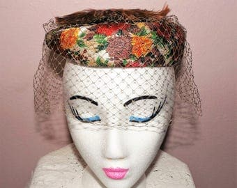 pretty vintage ladies hat ~ feathers on top of floral fabric & netting veil ~ dress up ~ rockabilly ~ 50's ~ 60's