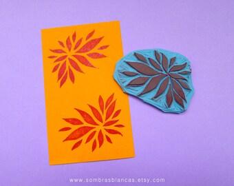 Leaves Ornament Stamp - Hand Carved Rubber Stamp – Scrapbooking Stamp – Card Making – DIY Stationery - Journal Stamp - Printmaking