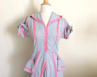 Vintage Grey & Pink Stripe Dress