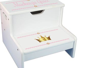 Gold step stool etsy personalized pink princess baby gift crown white childrens step stool with storage little princess baby gift negle Image collections