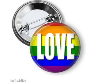 Rainbow pinback button badge, Love pinback button badge