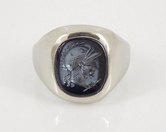 Vintage Glass Intaglio in Sterling Silver - Uncas C1950 - Size 6.75 - 925 Unisex Silver Signet Ring, Mens Pinky Ring, Youth Ring