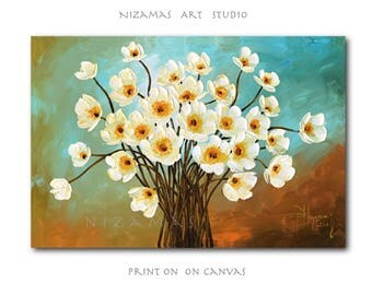 Art on canvas August Flowers Home Interior Decor Wall Art ready to hang