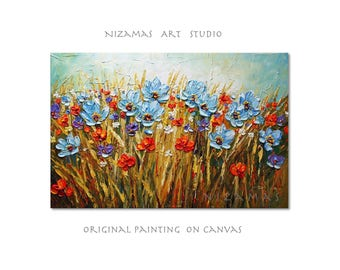Oil Painting Blue Flowers palette knife texture Fine Art Paula ready to hang