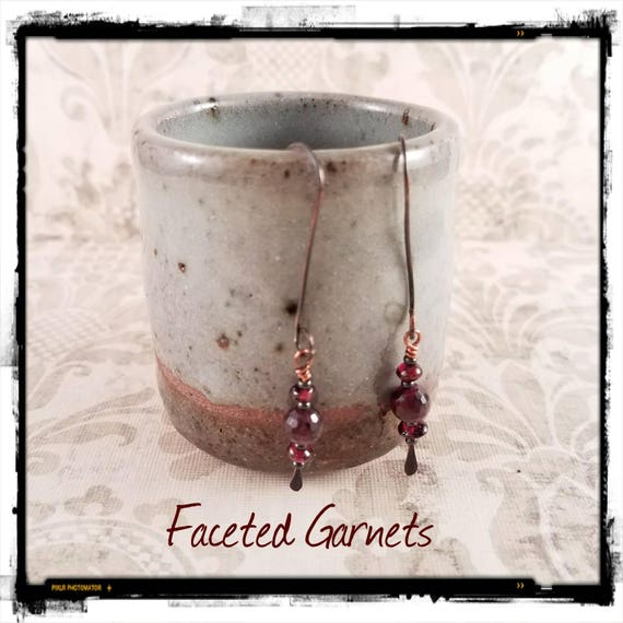 Faceted Garnet Earrings on Long Oxidized Copper Earwires
