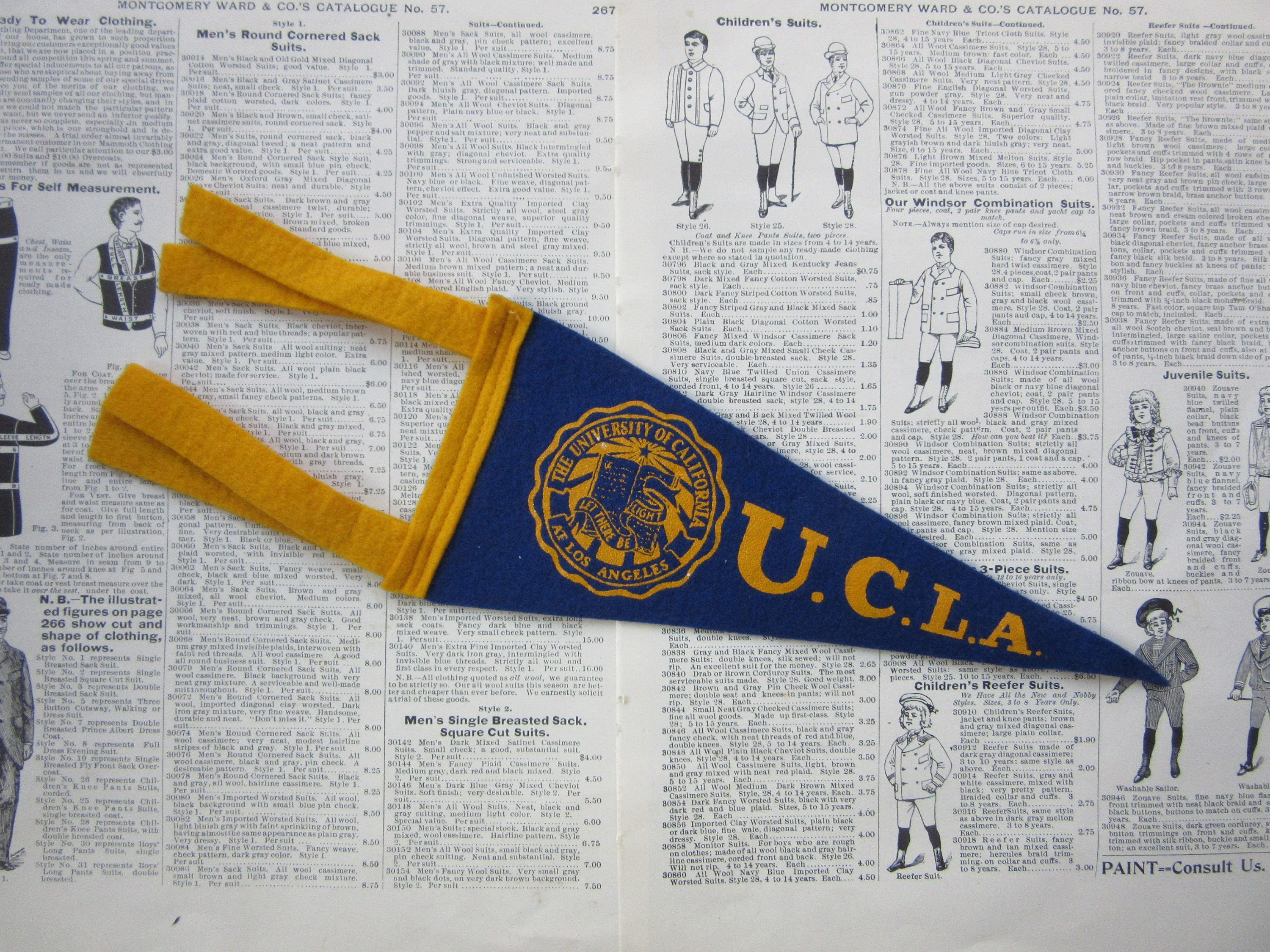 Vintage College Pennant UCLA University California Small 9 X 4 Inch Aged Felt 1960s School