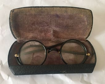 Early 1900s Eyeglasses Glasses Round Lens Black Wire with Case