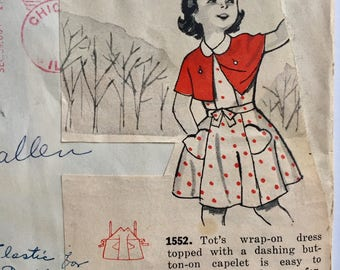 "Vintage 1950s Mail Order Girls' Dress Capelet Pattern 1552 Size 4 (23"" Chest)"