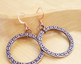 Copper floral circle dangle earrings spring look