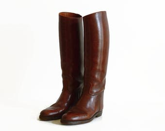 vintage leather riding hunting boots chestnut brown