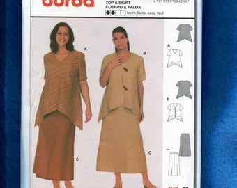 15% OFF SALE Burda 8629 Modern Chic Tops with High Low Hemlines & Skirt Size 18 to 32 UNCUT