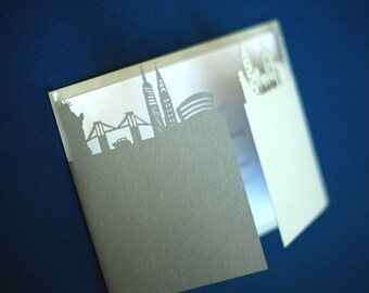Custom city laser cut wedding invitation gatefold, made with your city