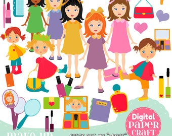 Make up Clipart, Children Clipart, Cosmetics Clipart, Mascara clipart, Sleepover clipart, Clipart,  Home clipart, Girls Night Clipart,