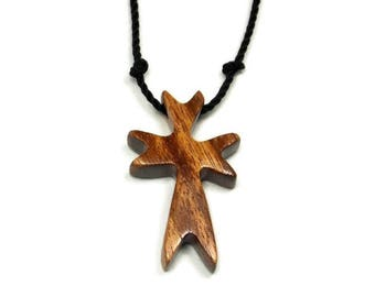 Mens Cross Necklaces, Tigerwood Cross Necklace, Cross Pendant, Wooden Cross Pendant, Brazilian Tigerwood, Reclaimed Wood, Mens Jewelry Cross