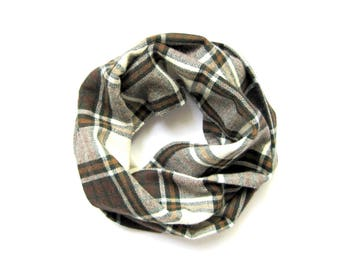 Fall Plaid Scarf, Flannel Scarf, Toddler Scarf, Girl Scarf, Boy Scarf, Childrens Scarves, Baby Bib Scarf, Under 20 Dollars, Ready to Ship