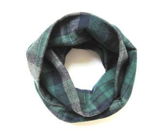 Flannel Scarf, Toddler Scarf, Green Plaid Scarf, Gray Plaid Scarf, Unisex Scarf, Children Clothing, Under 20 Dollars, Ready to Ship