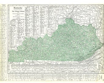 Vintage Kentucky Map Etsy - Kentuckey map