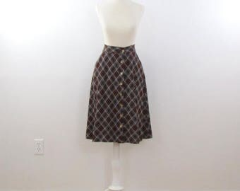 SALE Preppy Plaid Skirt - Vintage 1970s A Line Jersey Knit Skirt in Brown