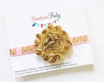 Gold 1st Birthday Headband, Watermelon Baby Bow, Gold First Birthday Outfit, 1st Birthday Outfit