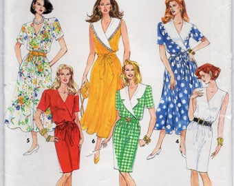 Slim Or Flared Dress With Or Without Collar Size 12 14 16 18 Sewing Pattern 1992 Simplicity 0627 Plus Size