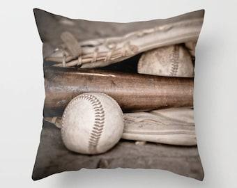 Baseball Pillow Cover, Velveteen Pillow Cover, Baseball Sports Fan Gift, Boys Bedroom Pillow Decor, Baseball and Bat, Sports Decor