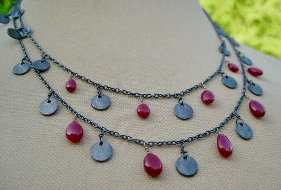 ARUNA  Double Strand Oxidized Sterling Silver Sequin Chain with Teardrop Rubies Necklace