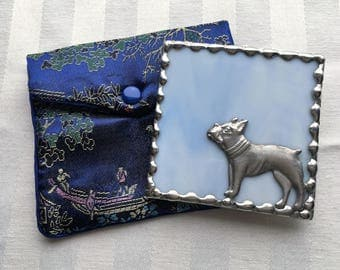 Stained Glass Purse Mirror|Pocket Mirror|Boston Terrier|Bulldog|Light Blue|Brocade Pouch|Bath & Beauty|Makeup Tools|Handcrafted|Made in USA