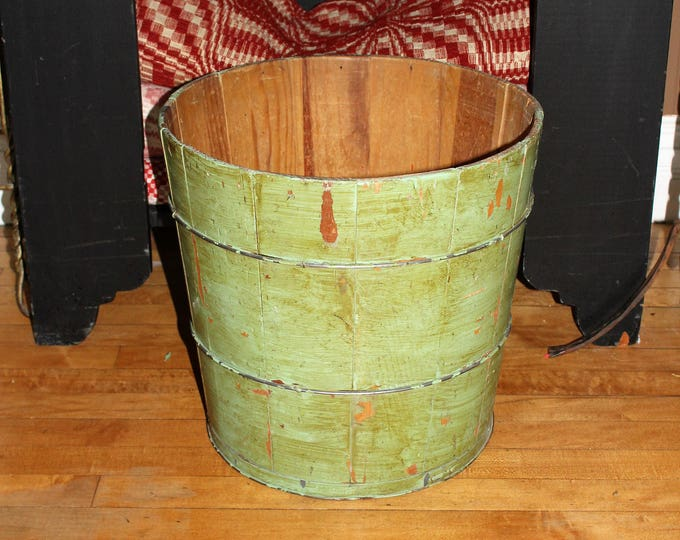 Large Wooden Tub Pail Wood Bucket Firkin Antique Country Decor