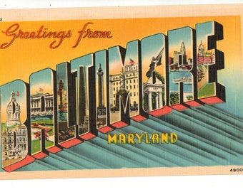Linen Postcard, Greetings from Baltimore, Maryland, Monuments, Large Letter