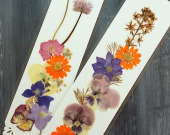 PRESSED FLOWERS BOOKMARKS -  Set of 2, Real Preserved Flowers, Reading Accessory, Gift for Mom, Sister, Girlfriend, Friends, Unique Handmade