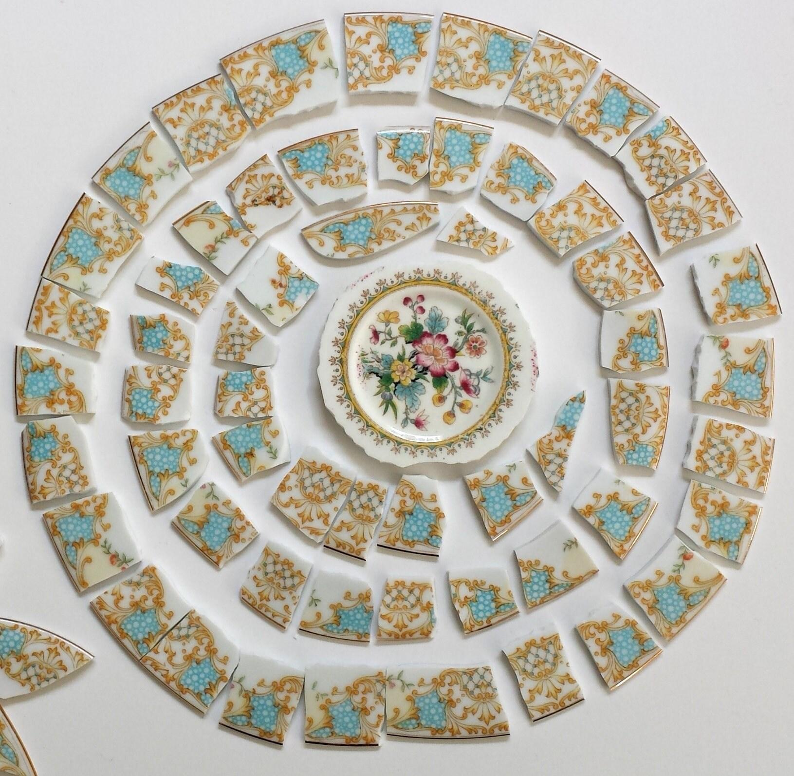 Mosaic Tiles Blue Border Tiles Vintage Plate