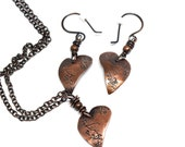 Custom order for Lisa V. Copper Heart Earrings & Pendant Stamped with Birds and Vines