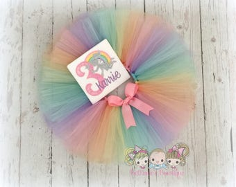 Birthday Fairy Tutu Set- Tutu Outfit- Rainbow Fairy- Pastel Rainbow tutu- Custom Birthday outfit
