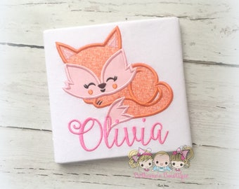 Personalized fox shirt - pink fox shirt - cute sleeping fox- woodland themed shirt- fox birthday shirt- girls fox shirt- pink and orange fox