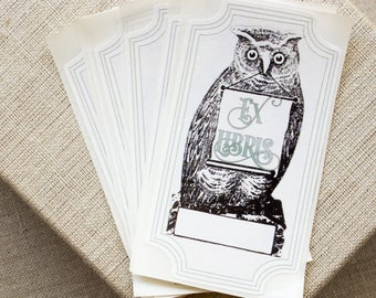 owl bookplate stickers -  bird bookplates - book labels - personalized bookplates - custom book plates - gifts for bookworms - book lovers