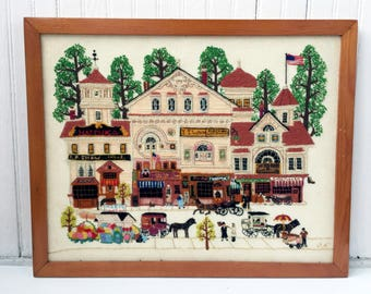 Vintage Framed Handmade Embroidery Art Main Street Americana Wall Hanging Decor Vintage House Embroidery Wooden Framed Needlework Town