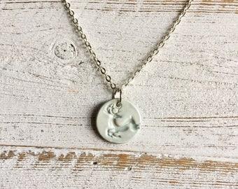 Ceramic Pendant, Reindeer, Winter, Unique Gift, Christmas, Deer, Gift Ideas, Ceramics, Reindeer Jewelry, Ceramic Jewelry