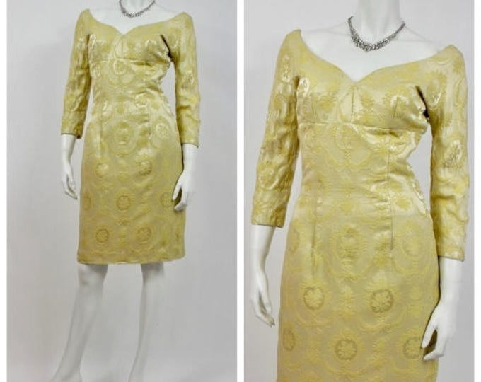 SUMMER SALE 1950's Gold Brocade Wiggle Dress - Vintage Cocktail Dress - Old Hollywood - Empire Waist - Hourglass - Yellow Brocade -  Off The