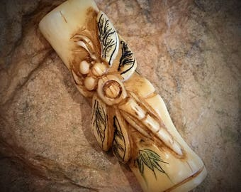 Bead #3....dragonfly / bamboo  bead, carved bone, priced each